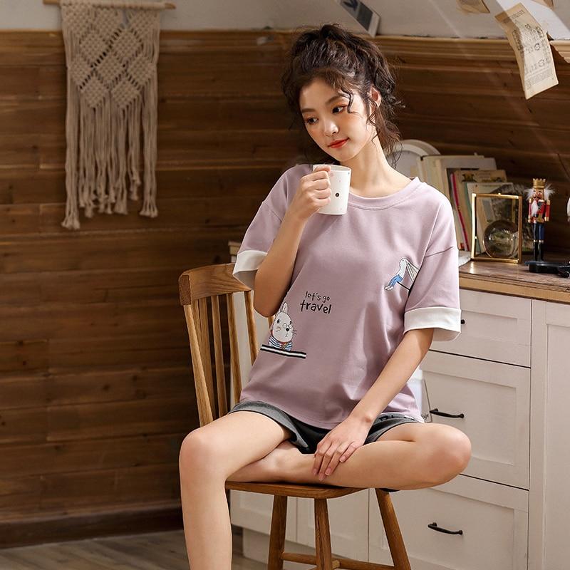 Image 5 - BZEL Top& Shorts Pajama Sets Women Short Sleeve Nightwear Cotton Homewear Round Neck Pijama Mujer Casual Sleepwear Lingerie 2pcsPajama Sets   -