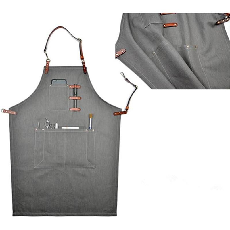 אפור ג 'ינס סינר Cowhide עור רצועה Baker Barista - סחורה ביתית