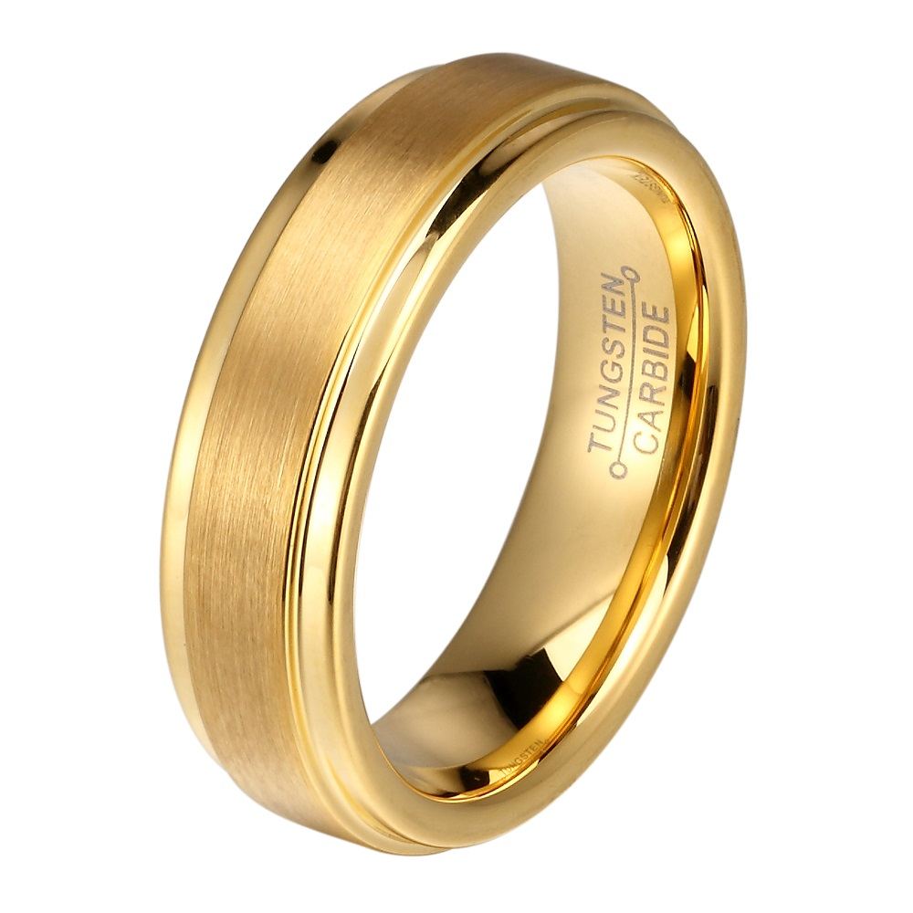 Online Shop Dropshipping 6mm Gold Color Tungsten Carbide Boy Rings ...
