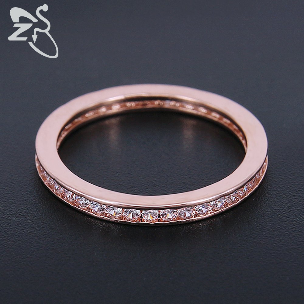 ZS Simple Engagement Ring Rose Gold Silver Color Romantic Couple ...