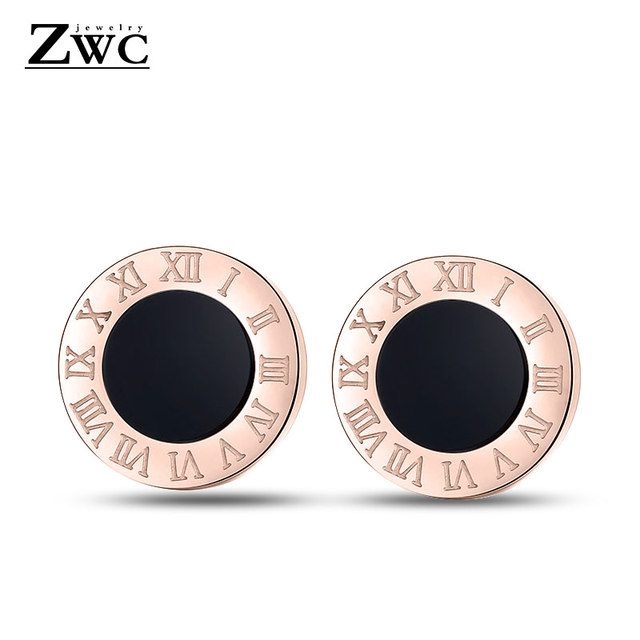 ZWC Fashion Luxury Round Stainless Steel Stud Earrings for Woman Men Anti-allergy Titanium steel Roman Number Earring Jewelry