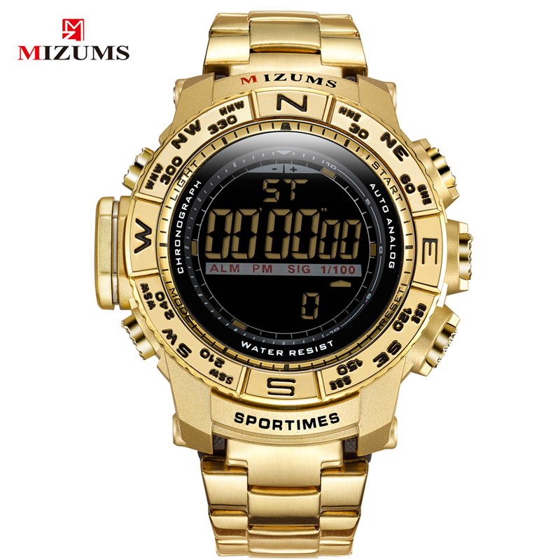 Chronograph Mens Watches Man LED Digital Watch For Men Waterproof Alarm Sports Reloj Hombre Gold Stainless Steel Band Male Clock