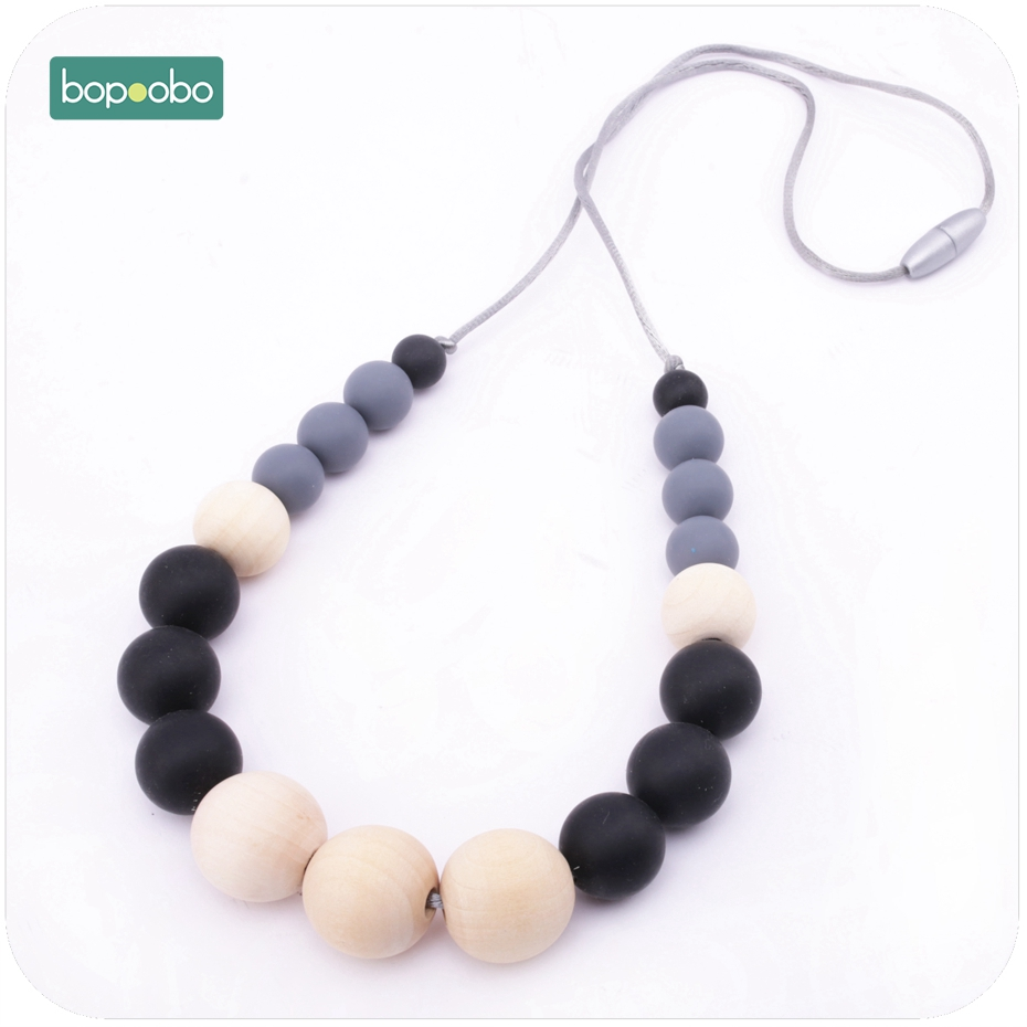 Bopoobo 1PC Food Grade Material Silicone Wooden Beads Necklace Sensory Strolle Toys New-born Gift Breastfeeding Baby Teether