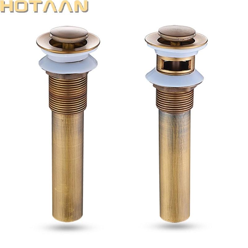 Free Shipping Antique Bathroom Brass Pop Up Sink Drain Brass Pop-up Drain Basin Waste YT-5193