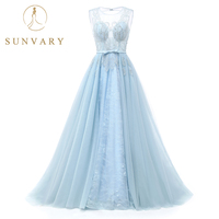 Sunvary Sheer Illusion Neckline Beaded Wedding Gown Cap Sleeve Embroidery Lace Wedding Dress Flowy Blue Bride