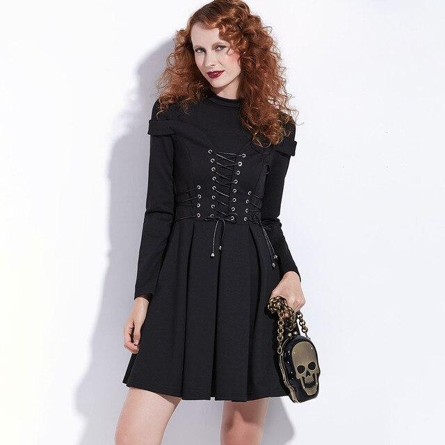 Women Black Winter Dress Autumn Long Sleeve A-Line Pleated Mini Dress Gothic Style Goth Patchwork Bandage Lace Up Vintage Dress 3