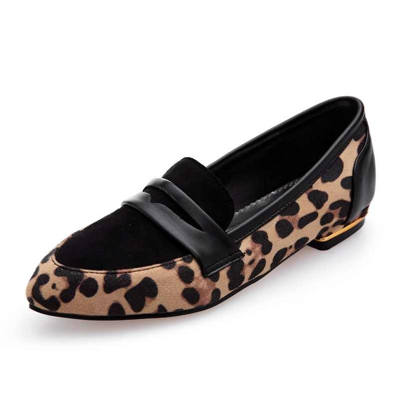 937e2d84996b Kcenid New autumn women shoes leopard PU leather ballet flats casual pointed  toe shallow metal heeled