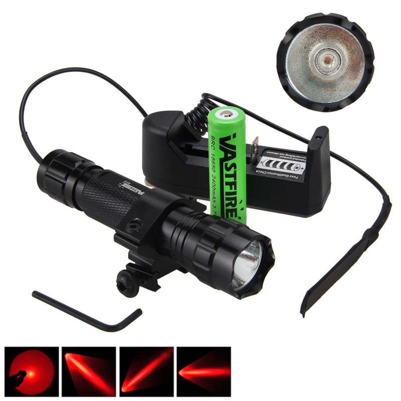 5000лм XM-L Q5 T6 светодиодный оружейный светильник белый тактический охотничий флэш-светильник+ прицел страйкбол крепление+ пульт дистанционного управления+ 18650+ зарядное устройство - Цвет: Красный