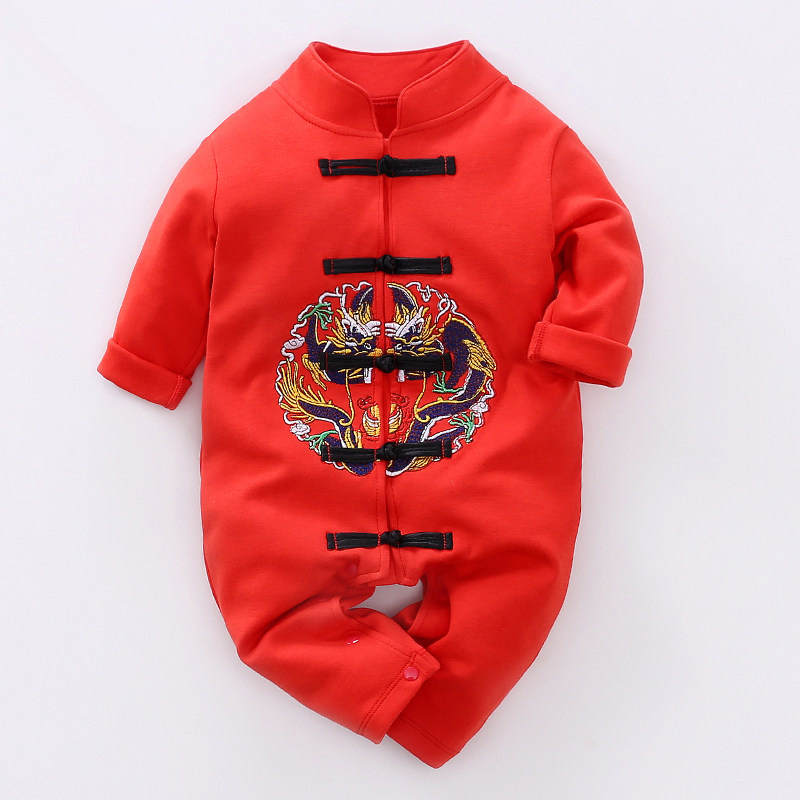 017851a759 Baby Rompers Newborn 100 Days Celebration Clothing Set Chinese Traditional  Tang Suit Cotton Infant Jumpsuits Baby Boys Clothes
