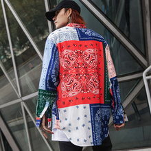 High street Patterned floral shirts men Long sleeve Extra long Red Blue White Loose 2019 Fashion