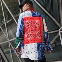Hohe straße Patterned floral shirts männer langarm Extra lange Rot Blau Weiß Lose 2019 Mode
