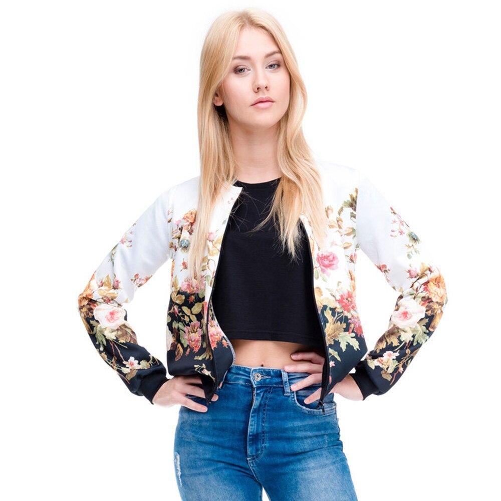 Brand Hot Sale Women Bomber Jacket 3D Printed Flower Fashion Sexy Jacket Short Coats Outwear Basic Jackets