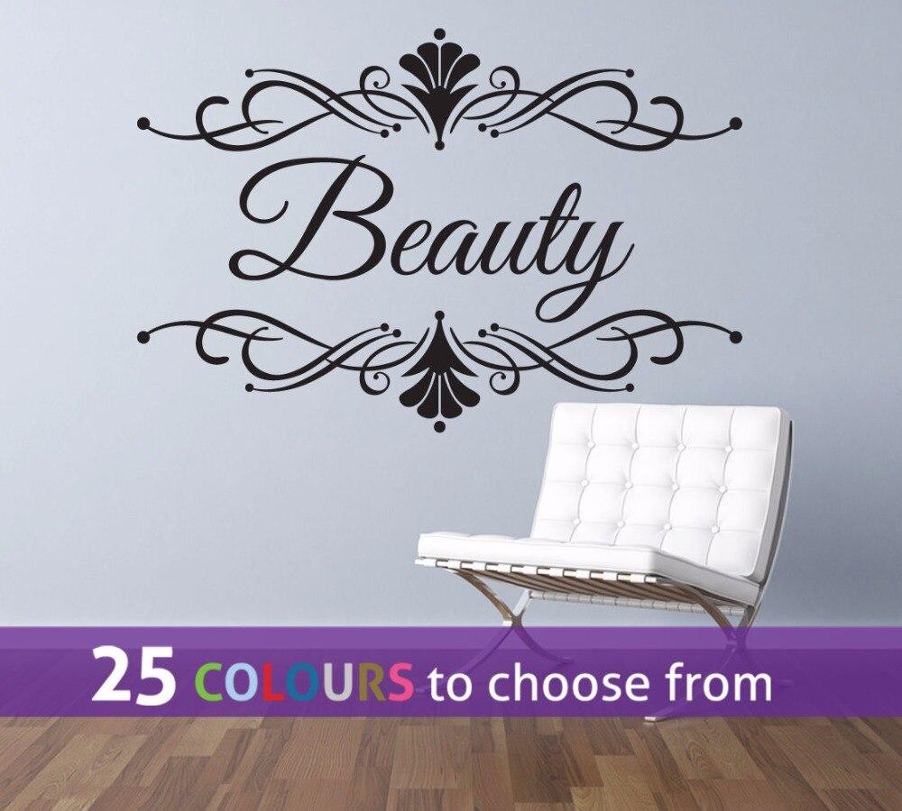 Cheveux Beaut Salon Wall Sticker Beaut Personnalis Texte Salon