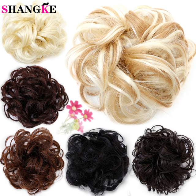Shangke Curly Synthetic Hair Pieces Women Chignon With Rubber Band