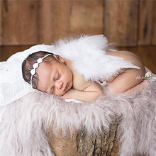 Baby newborn photo shoot costume angel wings photography post angel feather with flower hair band