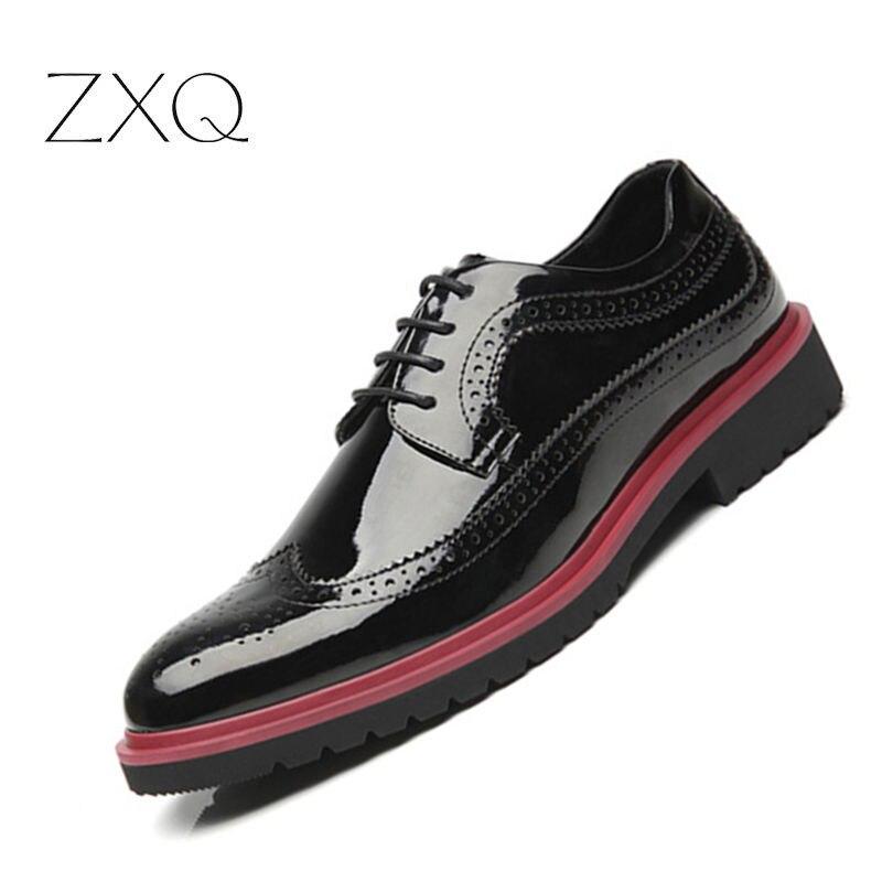 Italian Designer Black Men Brogue Shoes Patent Leather