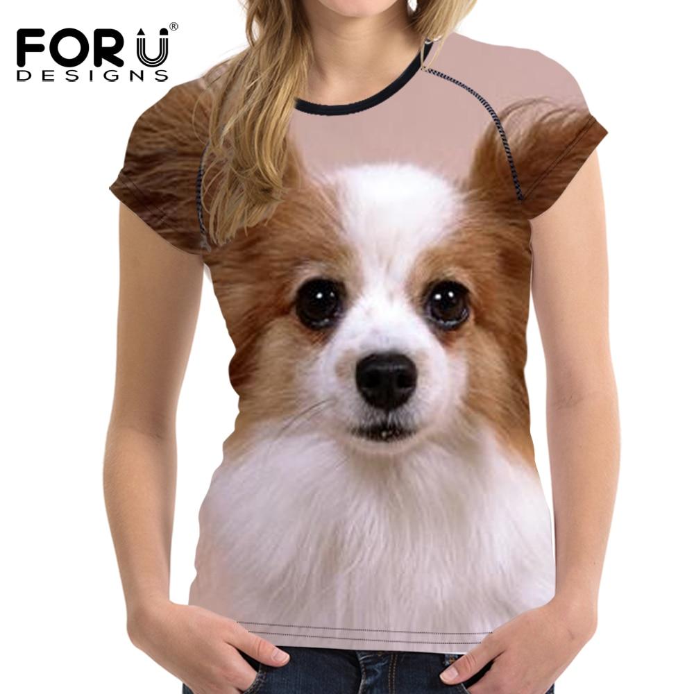 Forudesigns Kawii 3d Papillon Women Summer T Shirt Casual Crop Tops