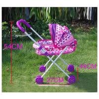 Baby Stroller Pretend Play Simulation Furniture Toys Trolley Imitation Baby Four Wheels Folding Doll Pram Buggy Pushchair