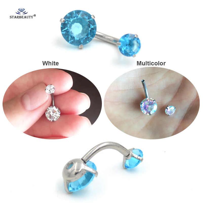 8mm הניצוץ צבעים קריסטל בטן טבעת עגיל טבור פירסינג Ombligo לבן טבור טבעות פירסינג סליל הברים Nombril Pircing