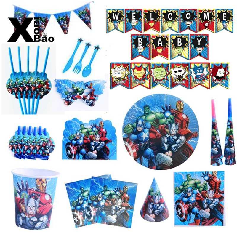 Avengers Theme กระดาษจานบนโต๊ะอาหารถ้วยแบนเนอร์แว่นตาเชิญผ้าปูโต๊ะ Topper ถุงบอลลูน Favor Party วันเกิดของขวัญ