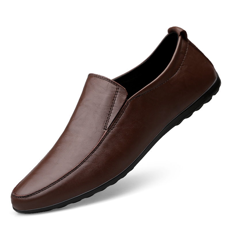 2019 Men Leather Party Dress Shoes Breathable Fashion Sneakers Male Fashion Loafers Black Brown Business Leisure Casual Shoes
