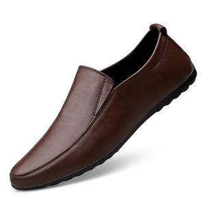 Image 1 - 2019 Men Winter Warm Plush Leather Party Dress shoes Breathable Male Fashion Loafers Black brown business leisure Casual Shoes