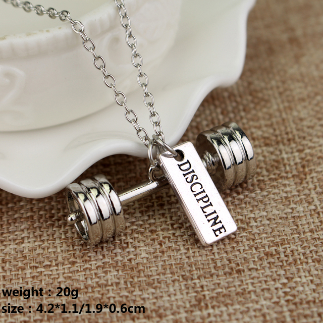 Fitness Gym Pendant Jewelry Lover Friend Bodybuilding Necklaces Men Women Sport Kettlebell Barbell Dumbbell DIY Necklace
