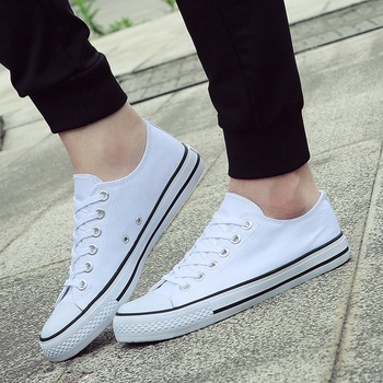 Men Canvas Shoes 2019 Fashion Solid Color Vulcanized Lace-up Casual White boys Sneakers