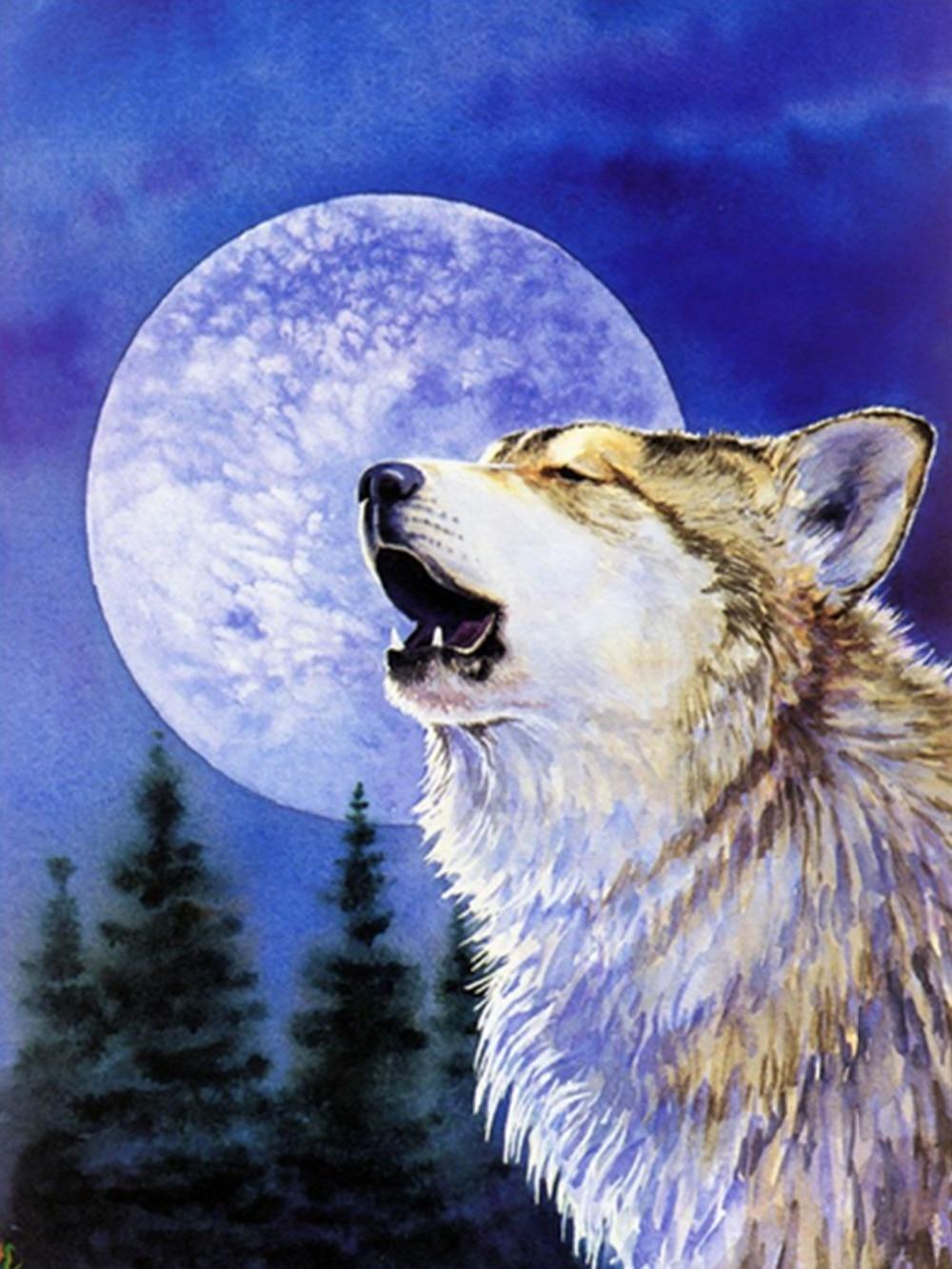 1f51e9fe3 الذئب الماس الفسيفساء لوحات التطريز عبر الابره الذئاب الحيوانات الديكورات  الراين ملصقات الحائط الإبرة 30*40 سنتيمتر