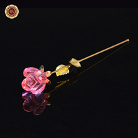 Newest Forever Pink Crystal Long Stem Rose Glass Flower Bud For Valentine S Day Gift With