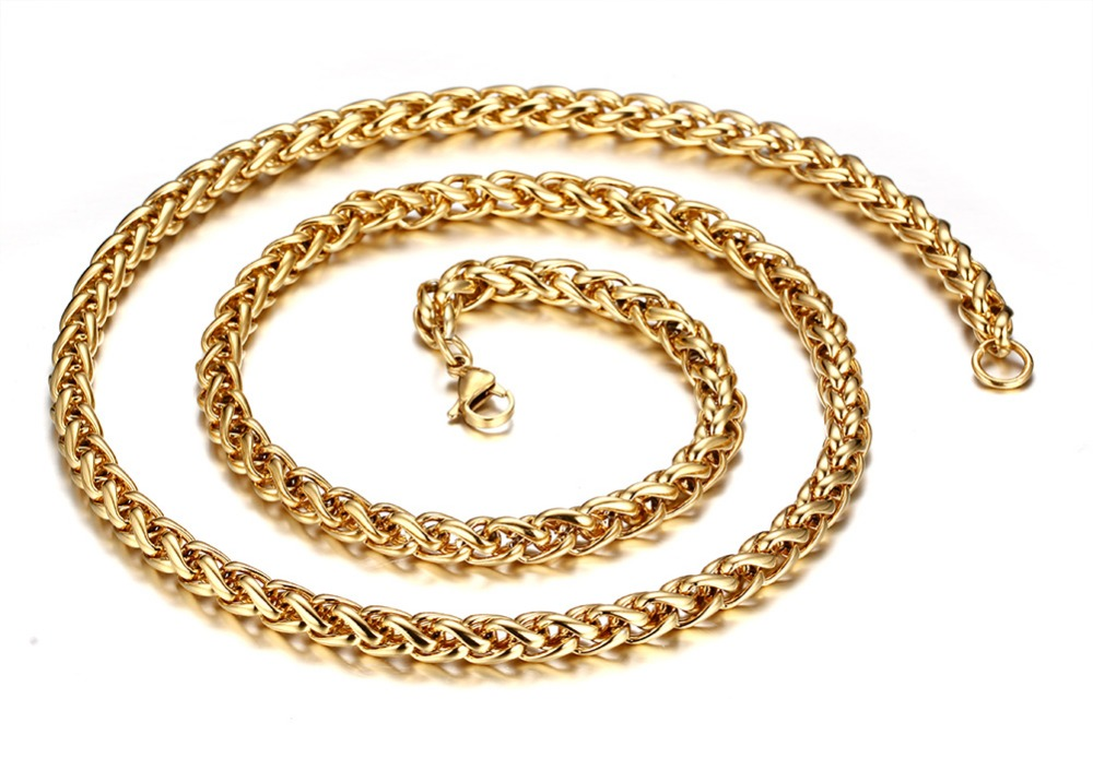 Outstanding Top Selling Gold 7mm Stainless Steel Twisted Wheat Braid Curb Chain Necklace 28 Fashion New Design For Men S Gift Necklace Chain Types Chain Handbagnecklace Chain Aliexpress
