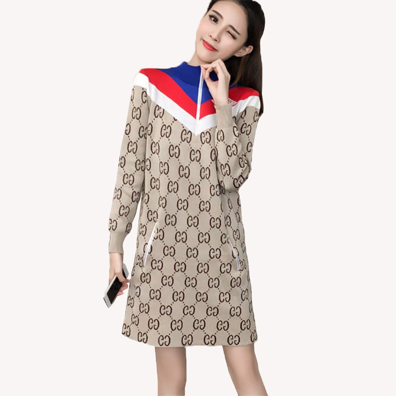 Lettre robe femme printemps automne a-ligne 2019 nouvelle mode tricot robe à manches longues col debout femme robe longue H00472