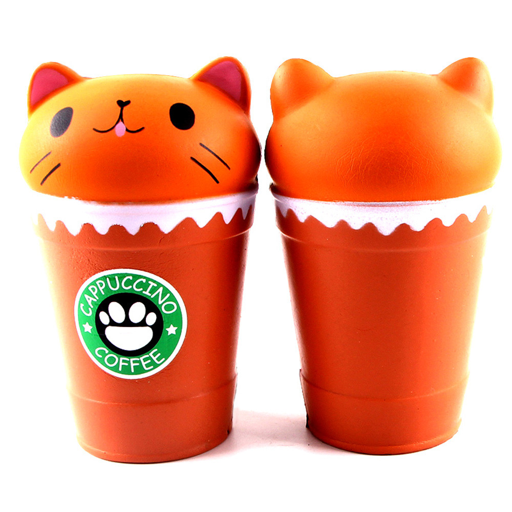 Kawaii Cute Cut Cappuccino Coffee Cup Cat Scented Squishy Slow Rising Squeeze Squash Anti-stress Toy Collection Cure Gift A1