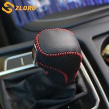 Zlord Leather Car Gear Head Shift Knob Cover Case for VW Golf 6 7 MK6 MK7 GTI DSG Tiguan POLO BORA Passat B7 Touran