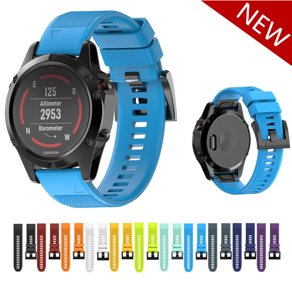 Sport strap for Garmin Fenix 5/5X/5S band GPS Watch bracelet watchband Quick Release Easy Fit Silicone Replacement wristband multi color silicone band for garmin fenix 5x 3 3hr strap 26mm width outdoor sport soft silicone watchband for garmin 26mm band