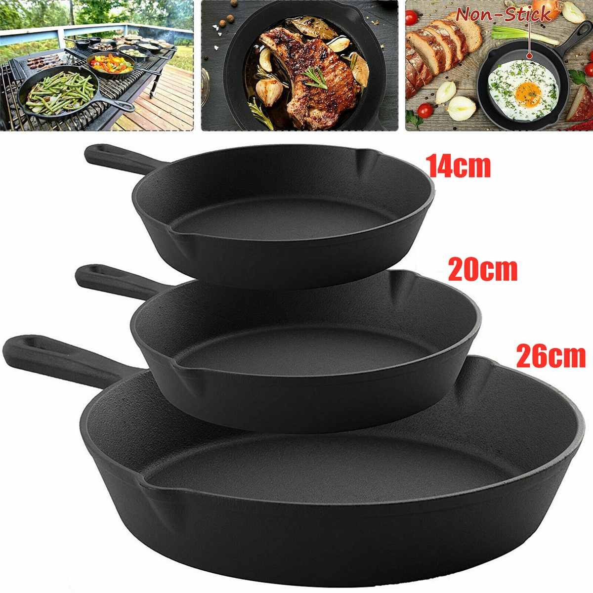 3Pcs Frying Pan Non-Stick Grill Skillet Set Frypan Cast Iron Griddle Cooking BBQ