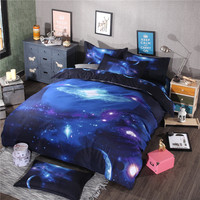 4/3Pcs Universe Outer Space Bedclothes Twin/Queen Size 3D Galaxy Bedding set For Kids Boys Duvet Cover Set Bed Sheet PillowCases