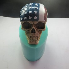 QT0003 Silicone Mold Skull Soap with American Flag 3d Handmade Candle Food Grade High Quality PRZY