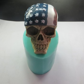 QT0003 Silicone Mold Skull Silicone Soap Mold with American Flag 3d Handmade Candle Mold Food Grade Silicone High Quality PRZY