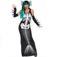 New black Mermaid Dress Halloween Sexy Women ghost Cosplay Costume Night club DS black skeleton Dress Party Masquerade clothing