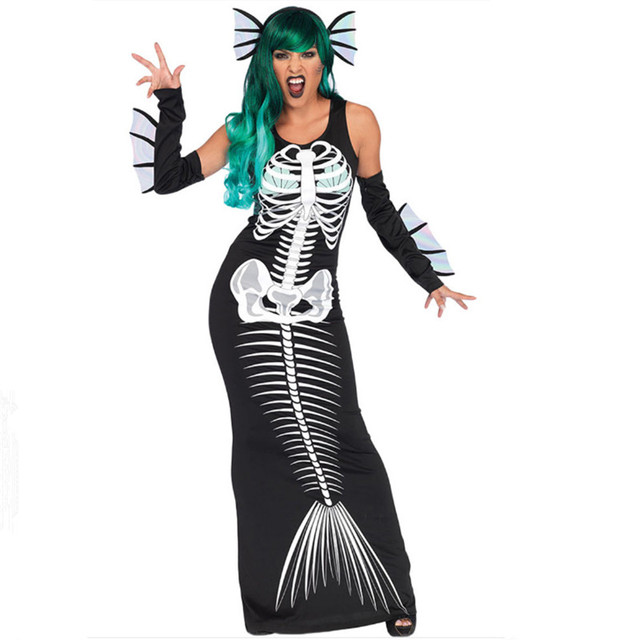 New black Mermaid Dress Halloween Sexy Women ghost Cosplay Costume Night  club DS black skeleton Dress Party Masquerade clothing 5aab6fd2c970