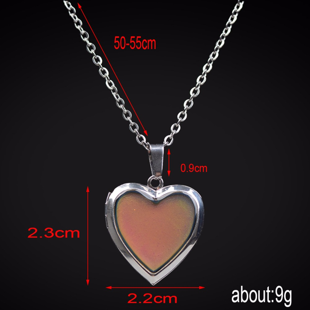 Mood Necklaces Peach Heart Love Pendant Necklace Temperature Control Color Change Necklace Stainless Steel Chain Jewellery Women