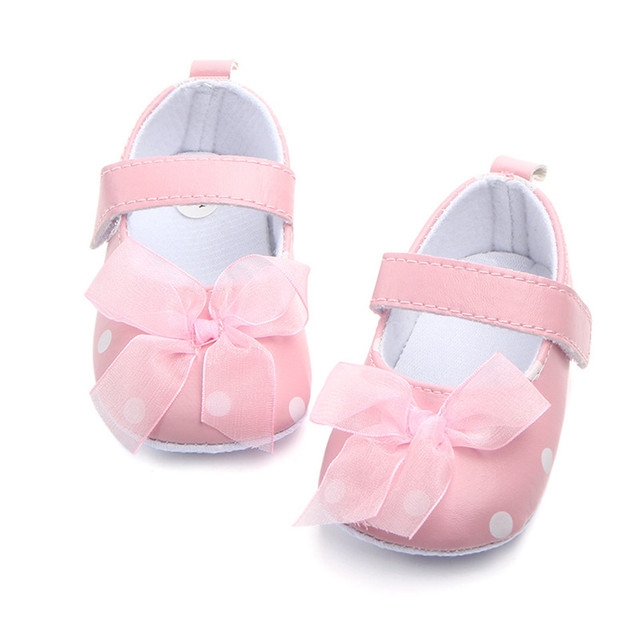 Newborn Spring Summer Toddler Infant Cute Shoes Baby Girl Bow Dot Crib Shoes Anti-slip indoor First Walker For 0-18 Months
