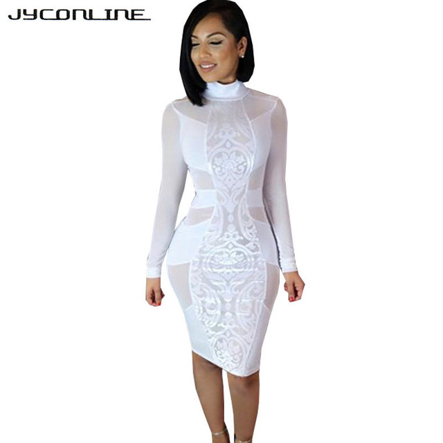63d96edd95 Jyconline de manga larga sheer vestidos de fiesta bodycon negro sexy dress  patchwork dress vestido de