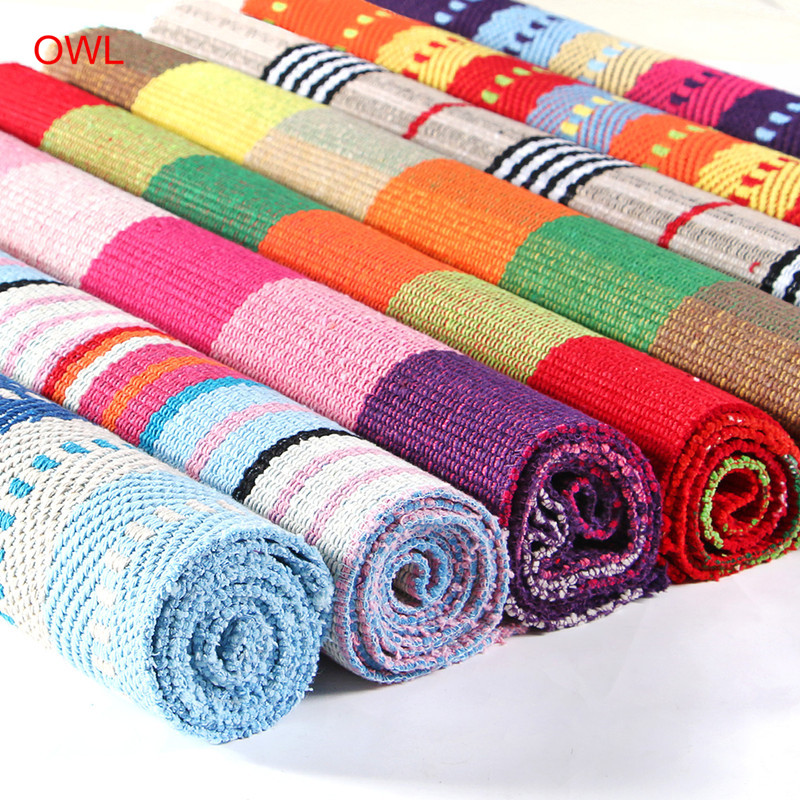 OWL Home Carpet Hand Woven Rugs 60*180cm Bed Room Carpet Bohe Stripe Floor  Mat