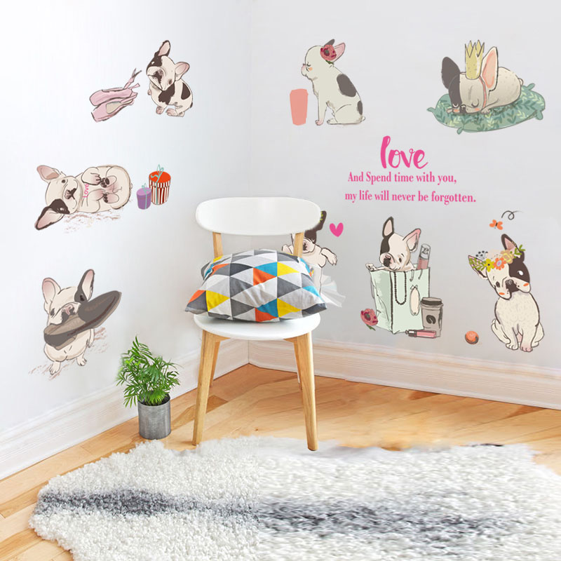 [Fundecor] cartoon diy cut 8 French Bulldog wall stickers for kids rooms nursery bedroom animals home decor decals dogs murals