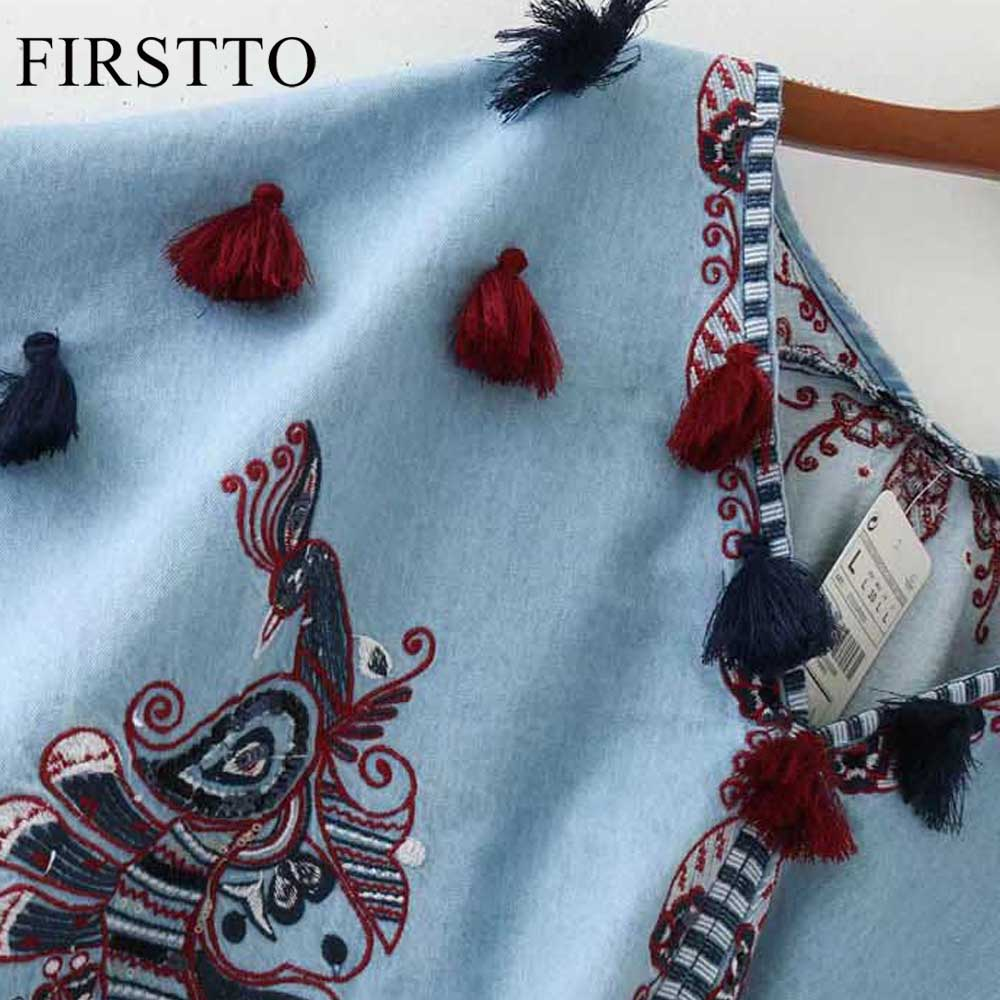 Aliexpress : Buy Firstto Vintage Demin Phoenix Embroidery Sequins Tassel V  Neck Pullover Shawl Cloak Loose