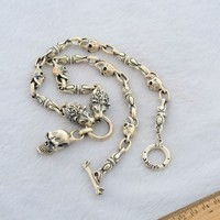silver jewelry wholesale 925 sterling silver jewelry is a skeleton set Chain Necklace Silver retro wolf men 047320w