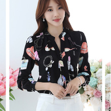 Autumn New Korean Type Slimming Thin Full Sleeve Print Women Chiffon Blouses Shirts