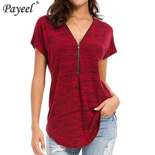 Women T Shirt Loose Fitting Zip Up Tshirt Woman Deep V Neck Short Sleeve Shirts For Womens Summer 2019 Plus Size Casual T-shirts sexy deep v neck lace up front casual t shirts in fuchsia